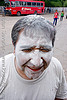 man's face covered with talk powder - white - carnaval - carnival in jujuy capital (argentina), andean carnival, carnaval, jujuy capital, man, noroeste argentino, san salvador de jujuy, talk powder, white