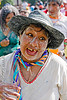 woman enjoying carnival in jujuy capital (argentina), andean carnival, black hat, carnaval, confettis, jujuy capital, noroeste argentino, san salvador de jujuy, serpentine throws, straw hat, talk powder, woman