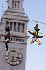 zip-line over san francisco, adventure, blue sky, cable line, cables, campanil, climbing helmet, clock tower, embarcadero tower, extreme sport, ferry building, gear, hanging, harness, justin herman plaza, mountaineering, moving fast, speed, steel cable, trolley, two, tyrolienne, urban, zip line, zip wire, ziptrek