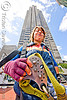 jessika is geared-up with harness and trolley - zip-line over san francisco, adventure, building, embarcadero center, extreme sport, gear, harness, high-rise, jessika, justin herman plaza, mountaineering, sling, strap, tower, trolley, tyrolienne, urban, woman, zip line, zip wire, ziptrek