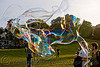giant soap bubble, big bubble, dolores park, giant bubble, iridescent, soap bubble, turf