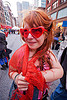 girl with red heart sunglasses - how weird street faire (san francisco), heart sunglasses, how weird festival, red, woman