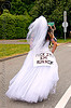 runaway bride, bay to breakers, bridal dress, festival, footrace, runaway bride, runner, running, street party, white, woman
