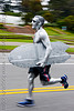 silver surfer running - bay to breakers (san francisco), bay to breakers, body art, body paint, body painting, festival, footrace, runner, running, silver surfer, street party, surf board