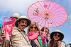 colonial pith helmets and pink japanese umbrella, bay to breakers, colonial pith helmet, costume, festival, footrace, helmets, japanese umbrella, man, pink, street party, woman