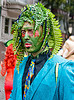 old gregg costume - green man, bay to breakers, blue jacket, costume, ferns, festival, footrace, green, headdress, leaves, man, old greg, old gregg, plant, street party