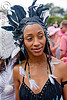 woman with black and white feather headdress, american indian costume, bay to breakers, feather headdress, festival, footrace, native american costume, snow bunnies, street party, woman