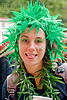 cannabis costume, bay to breakers, cannabis, costume, fake leaves, fake plant, festival, footrace, green, headdress, hemp, necklace, street party, woman