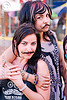 two girls with false moustaches, fake moustaches, fake mustaches, false moustaches, false mustaches, haight street fair, people, sarah, two, women