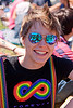 blue mirror sunglasses, blue sunglasses, dolores park, gay pride festival, jess, lip piercing, mirror sunglasses, mohawk hair, rainbow colors, rainbow tshirt, woman