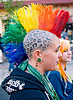 rainbow hair - mohawk - panther print scalp tattoo, ear piercing, gauged ears, gay pride festival, head tattoo, jessi, leopard print tattoo, lip piercing, mohawk hair, panther print tattoo, rainbow colors, rainbow hair, rainbow mohawk, scalp tattoo, stretched earlobes, tattooed, tattoos, woman
