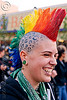 rainbow mohawk, ear piercing, gauged ears, gay pride festival, head tattoo, jessi, leopard print tattoo, lip piercing, mohawk hair, panther print tattoo, rainbow colors, rainbow hair, rainbow mohawk, scalp tattoo, stretched earlobes, tattooed, tattoos, woman