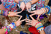 kandi kids making a finger star, beads, bracelets, clothing, fashion, finger star, fingers, hands, kandi cuffs, kandi kid, kandi raver, party, plur