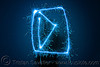 play button - light painting with a blue sparkler, blue, dark, icon, light drawing, light painting, play button, sarah, shadow, silhouette, sparklers, sparkles, symbol