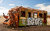 wrecked train car - graffiti - train cemetery - uyuni (bolivia), abandoned, accidented, enfe, fca, graffiti, railroad, railway, rusted, rusty, scrapyard, train car, train cemetery, train graveyard, train junkyard, uyuni, wreck, wrecked
