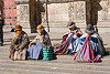 indigenous quechua women sitting on stairs - la paz (bolivia), bowler hats, iglesia de san francisco, iglesia san francisco, indigenous, la paz, plaza san francisco, quechua, san francisco church, sitting, stairs, steps, street, women