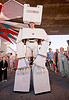 giant robot cardboard costume, burning man decompression, costume, robot