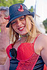 blond woman with devil horns - frencesca, black rose, blonde, burning man decompression, flower, frencesca, hat, horns, red, woman