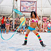 flowing ribbon, blue ribbon, burning man, center camp, flowing ribbon, mumu, performance, rainbow colors, rainbow stockings, rainbow tights, woman