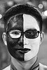 black and white face painting, costume, embarcadero, eyeglasses, eyewear, face painting, facepaint, halloween, journey to the end of the night, justin herman plaza, makeup, man, prescription glasses, spectacles