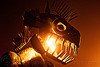 dragon head with fire, animated, art car, burning man, crustacean wagon, dragon, fire, flames, head, kinetic, metal, night, sculpture, teeth