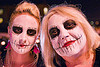 mother and daughter with white skull makeup - Día de los muertos - halloween (san francisco), daughter, day of the dead, dia de los muertos, face painting, facepaint, halloween, makeup, mother, night, two, woman