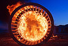 cylindrical wooden frame burning at dusk, burning man, cylinder, cylindrical, dusk, fire, flames, frame, wood, wooden