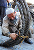 steel cable, beard, cables, industrial, istanbul, knot, man, muslim, people, roll, rope, steel cable, tie, tying, worker