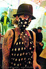 polka dots (san francisco), arm tattoo, black, bm pre-compression, burning man, costume, dress, face painting, facepaint, fashion, flambe, flambé lounge, hat, makeup, polka dots, tattooed, tattoos, white