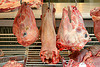 beef tongue and goat heads, beef tongue, chevon, goat heads, halal meat, hanging, hooks, meat market, meat shop, mutton, raw meat
