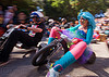 "BYOBW - ""bring your own big wheel"" race - toy tricycles (san francisco), big wheel, blue wig, byobw 2011, drift trikes, moving fast, pink tights, potrero hill, race, speed, speeding, toy tricycle, toy trike, trike-drifting, tutu, woman"