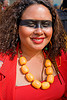 yellow necklace, facepaint, heavy necklace, how weird festival, makeup, red, woman, yellow necklace