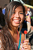 girl holding red lollipop, how weird festival, red lollipop, woman