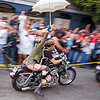 dykes on bike with umbrella, dolores park, dykes on bikes, gay pride festival, harley davidson, motorbike, motorcycle, rider, riding, street, umbrella, woman