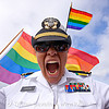 gays in the military, army, dolores park, flags, gay pride festival, mendoza, military cap, military hat, military uniform, rainbow colors, rainbow flag, rosanna, white uniform, woman