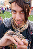 pet python snake, coiled, gay pride festival, hands, kameron, lip piercing, man, nose piercing, pet snake, punk, python, reptile, septum piercing, snake bites piercing