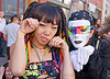 jessikr and white mask with rainbow colors, gay pride festival, jessikr, people, rainbow colors, rainbow mask, white gloves, white mask, woman