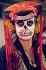 skull makeup - dia de los muertos - halloween (san francisco), day of the dead, dia de los muertos, face painting, facepaint, halloween, hat, headdress, makeup, night, woman