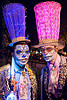 blue and pink stovepipe hats and matador costumes - dia de los muertos, blue hat, carnival hat, costume, day of the dead, dia de los muertos, face painting, facepaint, halloween, large hat, men, night, pink hat, rebar, stovepipe hats, sugar skull makeup, suliman nawid