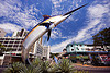 marlin fish landmark - kota kinabalu (borneo), clouds, fish, landmark, marlin, monument, road circle, sculpture