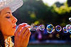 blowing soap bubbles, blowing, pople, soap bubbles, spring training, woman