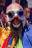 scary clown, beard, clown, costume, facepaint, fake teeth, how weird festival, man, steampunk glasses, white makeup