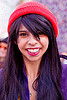 yasmine with red knit cap, how weird festival, knit cap, red cap, woman, yasmine