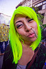 gabriela starchild with her neon green wig and nose chain, gabriela starchild, gaby, green wig, how weird festival, nose chain, nose peircing, woman