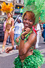 brazilian carnaval costume, brazilian, carnaval tropical, costume, dancing, festival, green feathers, headdress, parade, paris, woman