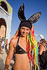 rainbow bunny - burning man 2012, black bunny ears, bunny march, burning man, dreads, hair extensions, rainbow colors, rainbow dreadlocks, woman