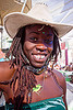 alua from ghana - burning man 2012, alua, bindi, bird necklace, black woman, burning man, center camp, dreads, goggles, hat