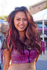 beautiful girl - dangerous creature, akiko, asian woman, burning man decompression, fashion, long hair, pink hair strands, pink top, spotty top