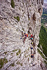 rock climbers on vertical cliff - via ferrata tridentina (dolomites), alps, cliff, climber, climbing harness, climbing helmet, dolomites, dolomiti, ferrata tridentina, mountain climbing, mountaineer, mountaineering, mountains, people, rock climbing, vertical, via ferrata brigata tridentina, woman