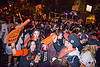 SF giants fans celebrating, 2012 world series, baseball fans, celebrating, celebration, crowd, editorial, go giants, night, partying, sf giants, sports fans, street party